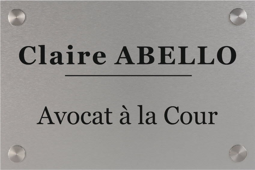 plaque avocat aluminium gravure noire