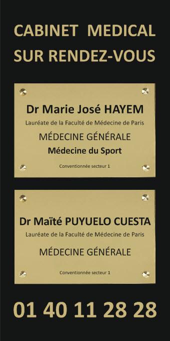 plaque pour un cabinet medical posée sur une sous plaque