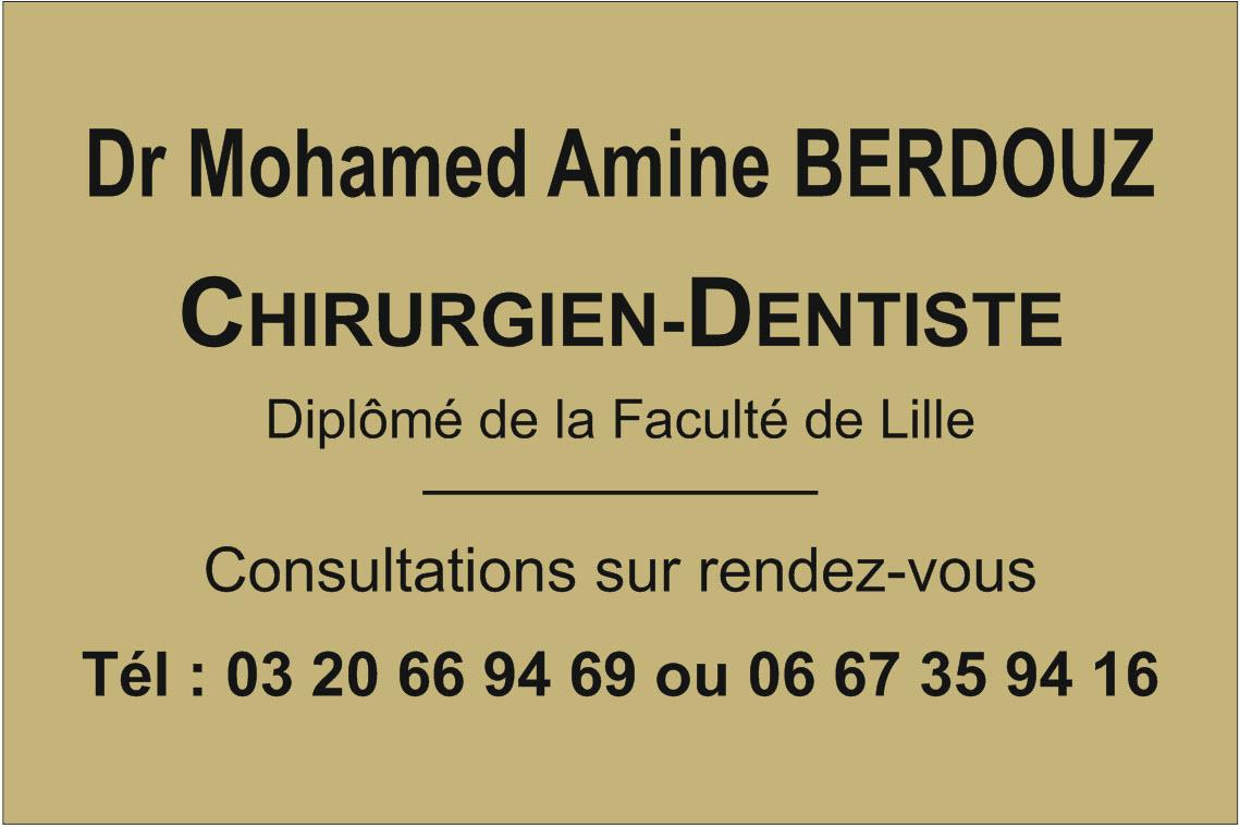 plaque dentiste en plexi or et gravure noire