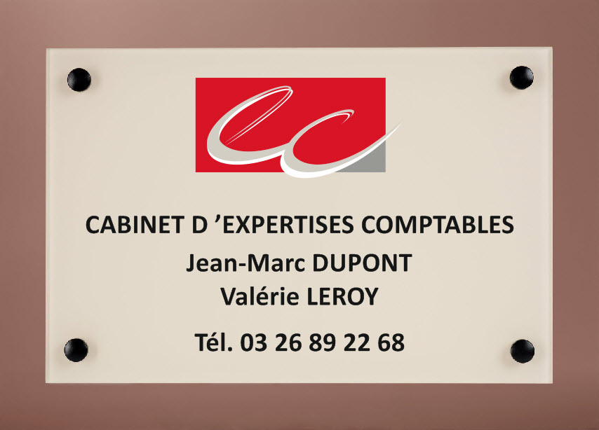 plaque et sous plaque assorties avec logo expert comptable