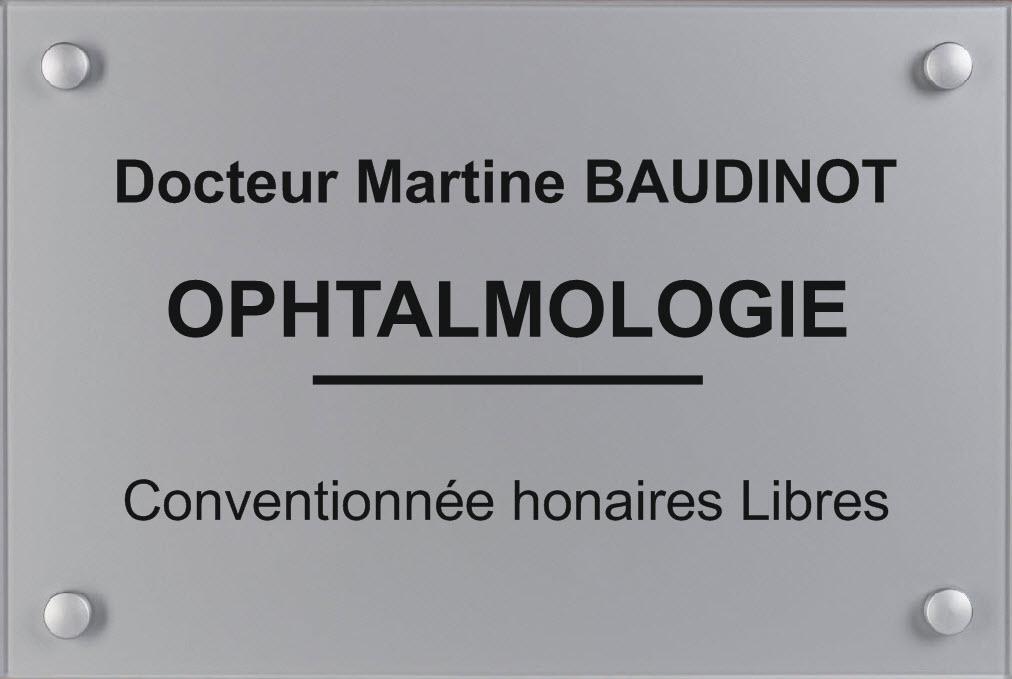plaque ophtalmologue version fond argent gravure noire visserie argent