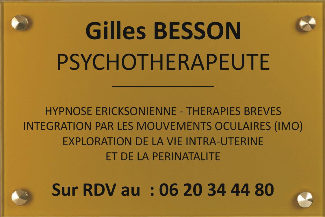 le psychotherapeute adopte la plaque or et gravure noire au format 300 mm x 200 mm