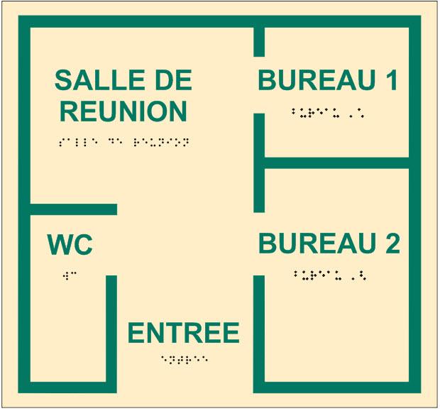 tableau représentant un plan de salle avec bille en relief et inscription en braille