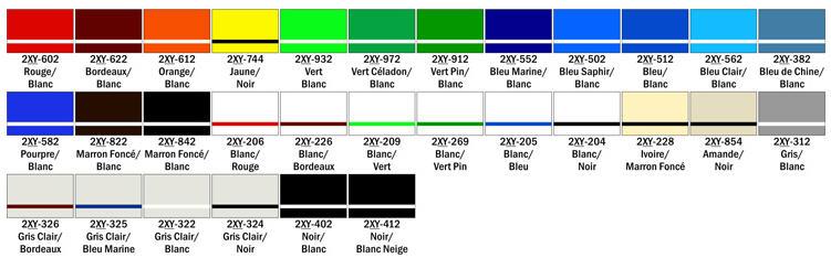 nuancier pour plaque gravée en ABS bi-couche