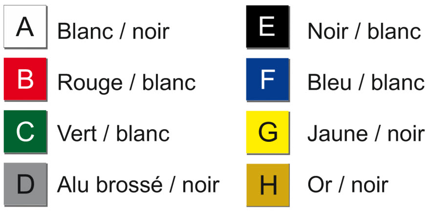 nuancier pour plaque de boîte à lettres - 93 x 25 mm